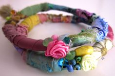 Stacking bracelets Multicolour fabric bangles by catyflowerpower