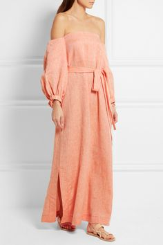 Lisa Marie Fernandez | Off-the-shoulder linen maxi dress | NET-A-PORTER.COM