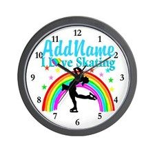 SKATING CHAMPION Wall Clock Keep motivated looking every day at our Figure Skating clocks.  http://www.cafepress.com/sportsstar/10189550 #Figureskater #IceQueen #Iceskate #Skatinggifts #Iloveskating #Borntoskate #Figureskatinggifts #PersonalizedSkater #Skaterclock