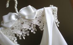 Padded Wedding Dress Hanger .... Jeweled Lace by blossomsandlace, $58.00