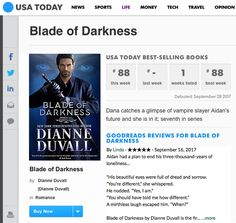 Exciting news!! BLADE OF DARKNESS hit the USA Today Bestseller list! Thank you so much, everyone who has picked up a copy! You all rock!! https://www.amazon.com/gp/product/B073V23CGT/ref=as_li_tl?ie=UTF8&camp=1789&creative=9325&creativeASIN=B073V23CGT&linkCode=as2&tag=dianduva-20&linkId=39e2eb34e792c44bcf85de867b0b12b2 #paranormalromance #bestseller #USATodayBestseller #romance #action #humor #fantasy #NewRelease #mustread #booklover
