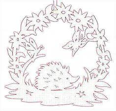 Egeltje Stencil Patterns, Stencil Designs, Paper Cutting, Kirigami Templates, Paper Art, Paper Crafts, Hedgehog Craft, Fox Crafts, Inkle Weaving