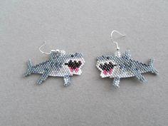 Beaded Shark Earrings by DsBeadedCrochetedEtc on Etsy
