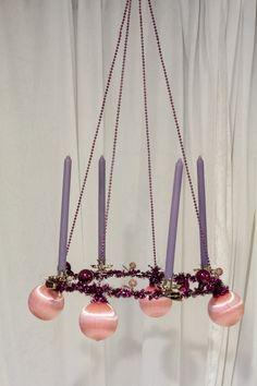 Adventskrans wire pink og lilla