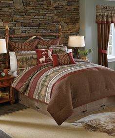 Croscill Oakwood Comforter Collection  The Oakwood bedding collection is a classic tapestry like woven forest scent. This classic yet updated ensemble will add a fresh outdoors touch to your bedroom. The comforter and shams feature a tapestry like woven border. The comforter gets an extra touch by being pieced together with stripes of red faux