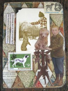 Front cover of cut and paste journal made for my dog loving friend.