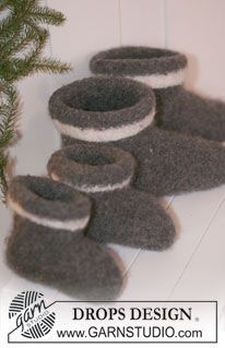 """House Elves - Knitted and felted DROPS Christmas slippers in """"Eskimo"""". - Free pattern by DROPS Design Baby Hats Knitting, Baby Knitting Patterns, Free Knitting, Crochet Patterns, Drops Design, Elf Slippers, Knitted Slippers, Crochet Mittens Free Pattern, Free Crochet"""