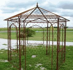 Wrought Iron Gazebo - Arbor - Metal Open Windows