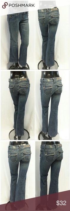 """40% BUNDLE DISCOUNT! FREE SHIPPING ON BUNDLES!! FOX FOXRIDERSCO, Denim Jeans, size 7 See Measurements, camouflage print waistband and front pocket lining, FOX embroidery logo 6"""" down right inside seam, distressed fraying discoloration throughout especially hems pockets and waistband, medium wash, mediumweight slightly stretchy denim material, machine washable, approximate measurements: 16"""" waist laying flat, 32"""" inseam, 2"""" zipper, 6"""" rise. ADD TO A BUNDLE!?40% BUNDLE DISCOUNT! FREE SHIPPING…"""