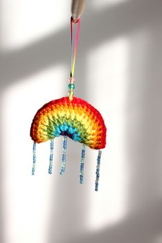 Crochet rainbow with beaded Raindrops | Flickr - Photo Sharing!