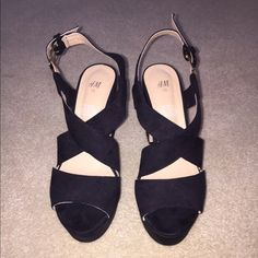 H&M black strap heels. Size 7. H&M black heels. Size 7. Perfect to match just about any outfit. H&M Shoes Heels