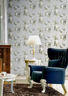 Eleganza 2 (Italian Vinyl) Collection by Galerie - Vinyl Collection, Wingback Chair, Accent Chairs, Dining Chairs, Traditional, Classic, Floral, Furniture, Wallpaper