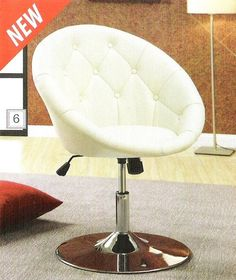 #ambfurniture.com         #accent furniture         #A.M.B. #Furniture #Design #Living #room #furniture #Accent #chairs #Cream #leather #like #vinyl #scoop #chair #with #button #tufted #styling #chrome #metal #base #with #adjustable #height                    A.M.B. Furniture & Design :: Living room furniture :: Accent chairs :: Cream leather like vinyl scoop chair with button tufted styling and chrome metal base with adjustable height…