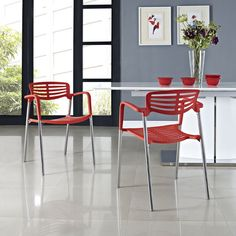 Modway Fleet Stacking Chair in Red