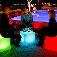 neon outdoor stools