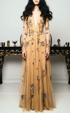 Birds and Honey Embroidered Gown by Cucculelli Shaheen