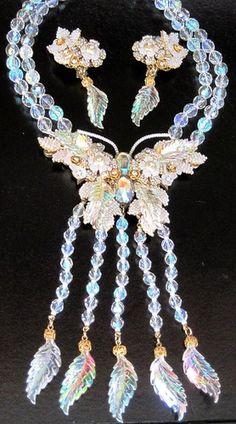 Stanley Hagler Massive Aurora Borealis Crystal Rhinestone Butterfly Necklace Set | eBay