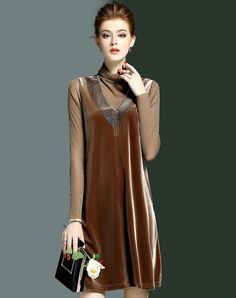 Coffee High Neck Velvet Shift Dress I found this beautiful item on VIPme.com.Check it out!