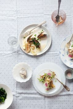 Seafood | Cannelle et Vanille: Black Cod, Avocado and Crispy Garlic Tartines; Steamed Mussels; Massaged Kale Salad