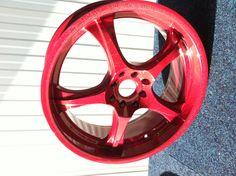 Red flip sparkle powder coated alloy rim.