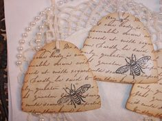 French Inspired Vintage Bee Hive Tags