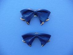 1970's Vintage Blue Leather Bow Shoe Buckles  Clips On