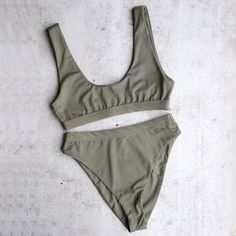 kylie olive sporty swim top + high waist banded high cut cheeky bottom - separates