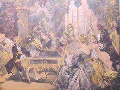 Antique-Vtg-Handel-Recital-Color-Print-Aft-Orig-Vincente-De-Garcia-Paredes-yqz