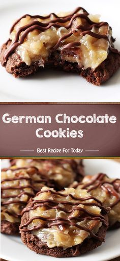 Ingredients For the cookies: 1 cups ounces) all-purpose flour cup unsweetened Dutch-process cocoa powder 1 teaspoon baking powd. German Chocolate Cookies, Healthy Chocolate Cookies, Healthy Cookies, German Cookies, Gourmet Cookies, Chocolate Chips, Cookie Desserts, Just Desserts, Delicious Desserts
