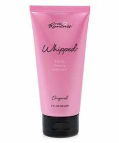 Pure Romance Whipped Edible Lubricant in Vanilla Cupcake by Pure Romance. $9.99. Whipped lubricant is like icing on the cake! Designed with your man in mind, this cream lubricant contains skin-softening shea butter, giving it an emollient texture that makes it perfect for use with c-rings, and sleeves. Whipped comes in several kissable varieties or in Original. 3 fl. oz. / 90 ml. Directions  To use Whipped, apply a dime-sized amount of the product to the area ...