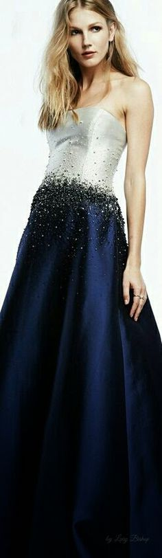 #ballgowns #gowns #fashion #couture | Dark Navy Blue and White Ball Gown with beading | We can create an almost exact replica of this ball gown for you in any size, color or with any changes.  Our company is located in America and provides women affordable options for custom evening gowns and couture replicas of formal wear - www.dariuscordell.com