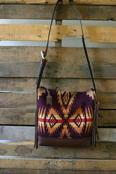 Plum Navajo purse  with leather bottom/ boho by MercyGreyDesignCo