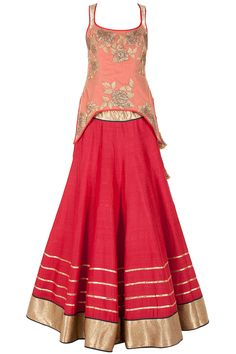 Red net overlay embroidered lehenga set available only at Pernia's Pop-Up Shop.