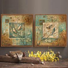 Flores da árvore do Pássaro pintura a óleo da lona fotos para sala de estar decoração da casa verde quarto decor wall art posters e impressões
