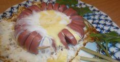 Цветочек из сосиски с яйцом