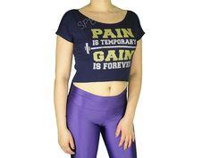 Blusas Femininas | Blusa Cropped Costas Rasgadas Pain Is Temporary Gain Is Forever Azul Marinho  Acesse: http://www.spbolsas.com.br/atacado/ #Regatas #Femininas #Atacado