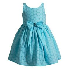 Youngland Eyelet Bow Dress - Toddler Girl