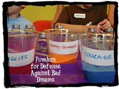 Harry Potter party idea: Mix up charms against nightmares with colored craft sand in glass bottles.