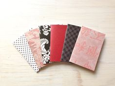 Small Notebooks 6 Tiny Journals Set Pink Red by ordinaryartists, $5.00