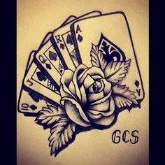 Card Tattoo Designs, Skull Tattoo Design, Tattoo Design Drawings, Flower Tattoo Designs, Tattoo Designs Men, Dope Tattoos, Body Art Tattoos, New Tattoos, Hand Tattoos
