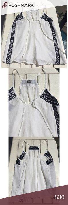 Ecoté white and black tank top Purchased in Paris France, brand new condition, only worn once. Urban Outfitters Tops Tank Tops