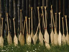 Oars Are Propped Against a Fence, Old Fort William, Thunder Bay, Ontario, Canada Photographic Print