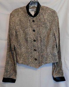 Jessica Howard Vintage Jacket Faux Snakeskin Pattern Black Trim Size 8