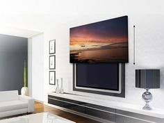 how to hide a tv behind a painting that slides up - Google Search