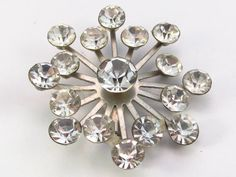 Vintage 1940's silver metal clear rhinestone by jewelry715 on Etsy