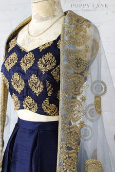 Loving this dark blue embroidered lehenga by Poppy Lane Toronto #Frugal2Fab
