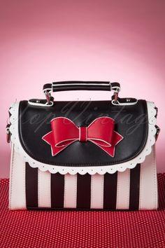 Lola Ramona Girly Black White Striped Bag 212 14 12067 01272015 01W