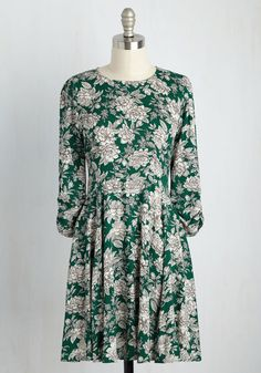 Genuinely Joyous Dress. Its amazing how something as simple as an ensemble can boost your mood, and this green dress is no exception! #green #modcloth
