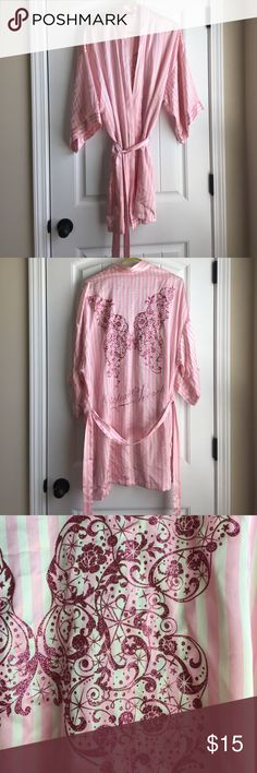 PINK VS Silk robe PINK Victoria's Secret silk robe with sash. Sparkle butterfly design on the back. Never worn. PINK Victoria's Secret Intimates & Sleepwear Robes