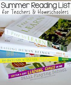 Reading List for Teachers and Homeschoolers Kids Reading, Reading Lists, Book Lists, Homeschool Kindergarten, Preschool Teachers, Elementary Teaching, Homeschooling, Teacher Organization, Play To Learn